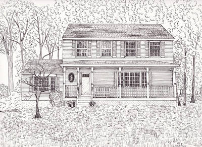 Drawing - Karen's House by Michelle Welles