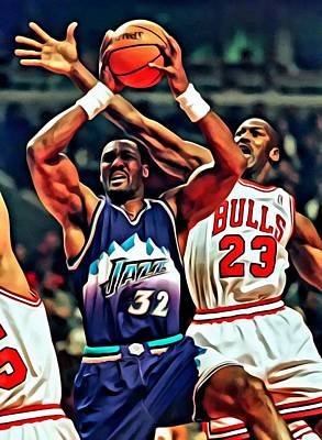 Utah Jazz Painting - Karl Malone Vs. Michael Jordan by Florian Rodarte