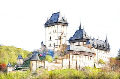 Tourist Attraction Digital Art - Karlstejn - Famous Gothic Castle by Michal Boubin