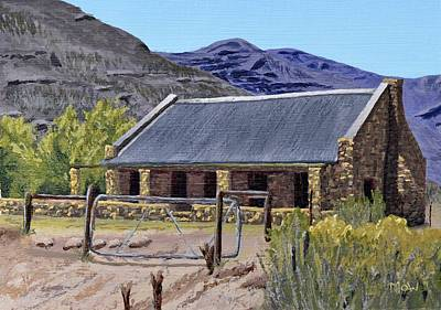 Building Painting - Karoo Farm Cottage by Leana De Villiers