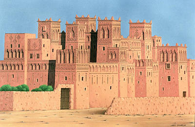 Kasbah, Southern Morocco, 1998 Acrylic On Linen Art Print by Larry Smart