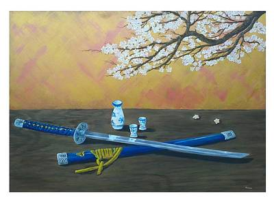 Sake Painting - Katana Sake Set And Cherry Tree Still Life Hana Wa Sakura Gi Hito Wa Bushi by Gianluca Cremonesi