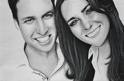 William And Kate Drawing - Kate And William by Samantha Howell