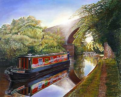 Kate Boat On The Grand Union Canal, 2001 Oil On Canvas Art Print by Kevin Parrish