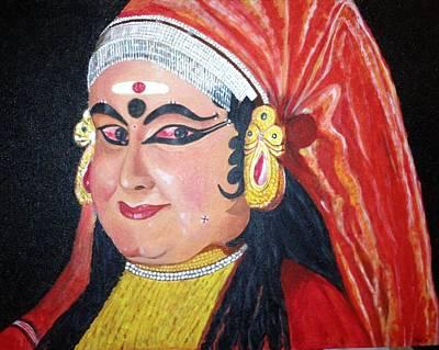 Kathakali Painting - Kathakali - Damayanthi by S P