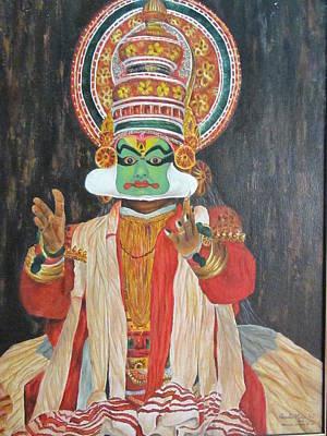 Indian Tribal Art Painting - Kathakali by Vasudha Maiya