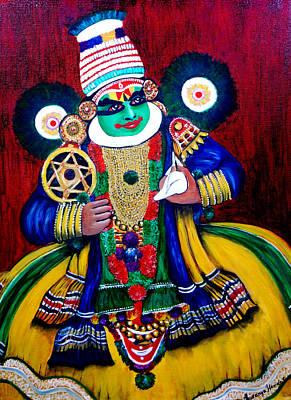 Kathakali Painting - Kathakali..lord Krishna by Saranya Haridasan