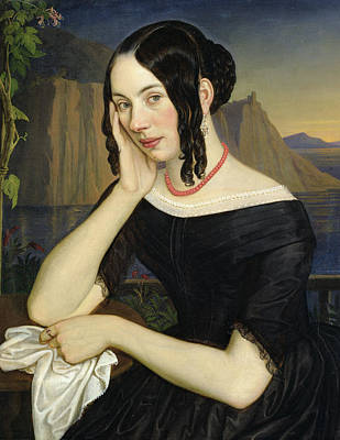 Coral Necklace Painting - Katharina Kern Of Sterzing by Rudolph Friedrich Wasmann