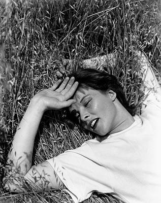 Photograph - Katharine Hepburn Lying Down In The Grass by George Hoyningen-Huene
