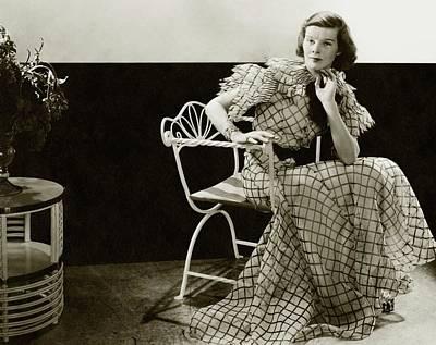 Katharine Photograph - Katharine Hepburn Sitting On A Chair by Lusha Nelson