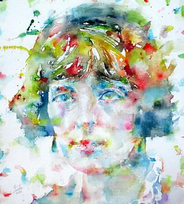 Katherine Mansfield - Watercolor Portrait Original by Fabrizio Cassetta