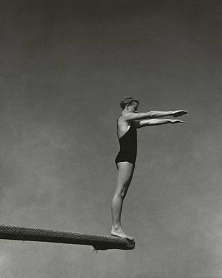 Side View Photograph - Katherine Rawls Getting Ready To Dive by Edward Steichen