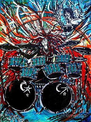 Drum Kit Painting - Kathmoonarts Logo by Kath MoonArts