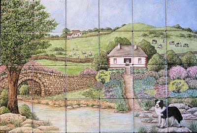 Kathy's Irish Scene Tile Mural Art Print by Julia Sweda
