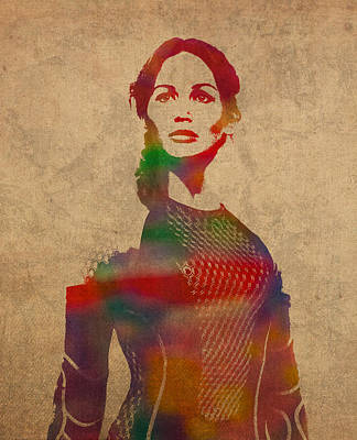 Katniss Everdeen From Hunger Games Jennifer Lawrence Watercolor Portrait On Worn Parchment Print by Design Turnpike