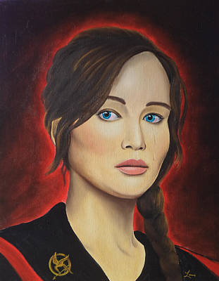 Hunger Games Painting - Katniss by Lauri Loewenberg