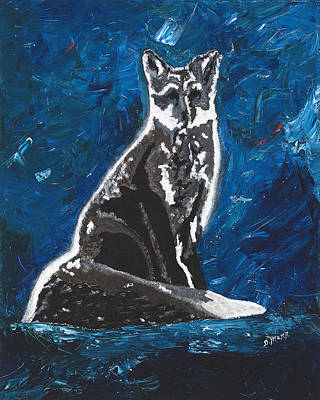 Pallet Knife Painting - Kat's Fox by Donna Mann