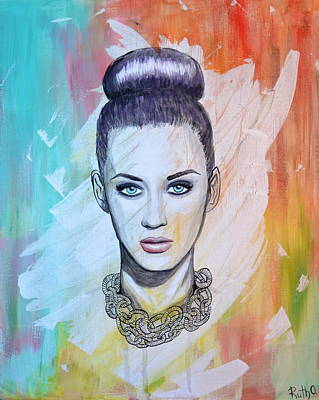 Acrylic Necklace Painting - Katy Perry by Ruth Oosterman