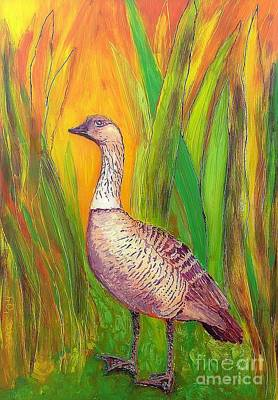 Reverse On Plexiglass Painting - Kauai Nene by Anna Skaradzinska