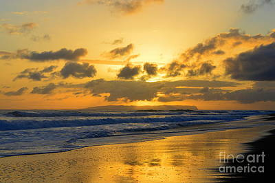 Kauai Sunset With Niihau On The Horizon Art Print by Catherine Sherman