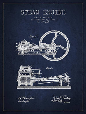 Steam Engine Digital Art - Kaufholz Steam Engine Patent Drawing From 1877- Navy Blue by Aged Pixel