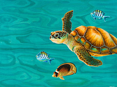 Tropical Fish Painting - Kauila Sea Turtle by Emily Brantley