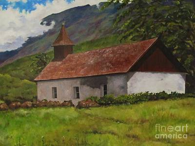 Painting - Kaupo Church In Maui by Karen Olson