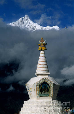 Kawagarbo Peak And Stupa Art Print by James Brunker