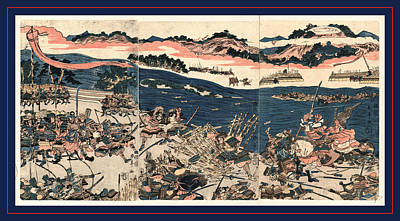 River Scenes Drawing - Kawanakajima No Kassen, Battle At Kawanakajima. 1809 by Shunman, Kubo (1757-1820), Japanese