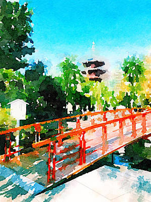 Painting - Kawasaki Daishi Bridge And Five-storied Pagoda by Beverly Claire Kaiya