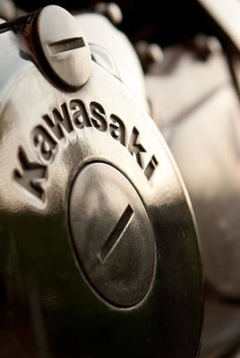 Photograph - Kawasaki Motorcycle Engine - Closeup by Vlad Baciu