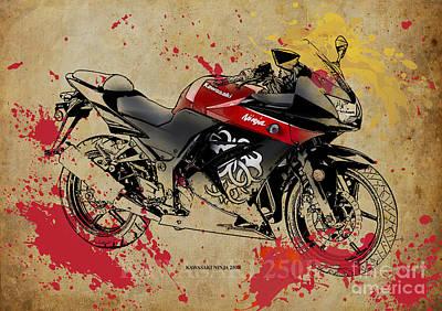 Ninja Digital Art - Kawasaki Ninja 250r by Pablo Franchi
