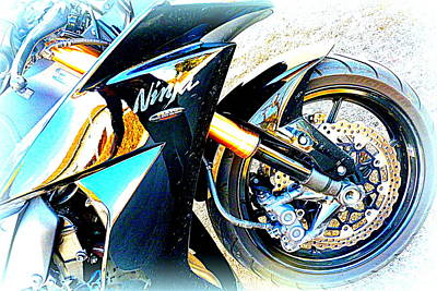 The Creative Minds Photograph - Kawasaki Ninja Closeup by The Creative Minds Art and Photography