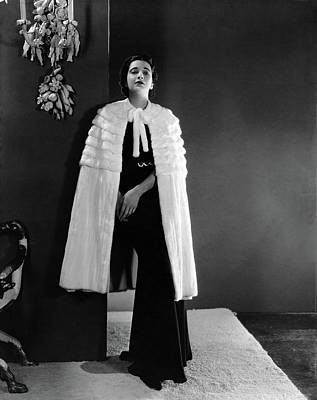 Photograph - Kay Francis Wearing An Ermine Cape by Horst P. Horst