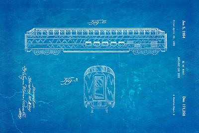 Kay Railway Car Patent Art 2 1954 Blueprint Art Print by Ian Monk