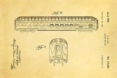 Kay Railway Car Patent Art 2 1954 Art Print by Ian Monk