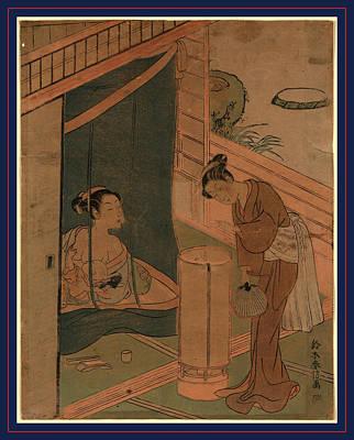Netting Drawing - Kaya No Hahako, Mother And Child Behind Mosquito Netting by Harunobu, Suzuki (1725-70), Japanese