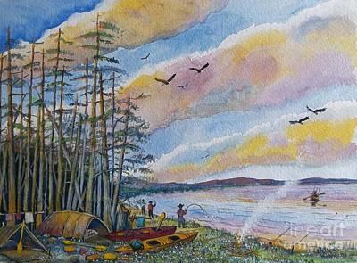 Kayak Camping Art Print