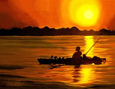 Fishing Painting - Kayak Fishing by Alex Rios