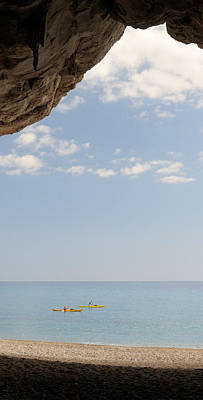 Cala Photograph - Kayak In The Sea Viewed From Cave, Cala by Panoramic Images