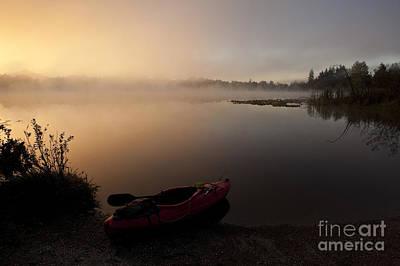 Pilchuck Photograph - Kayak On Foggy Shore At Sunrise by Jim Corwin