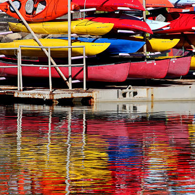Morro Bay Ca Photograph - Kayak Reflections by Art Block Collections