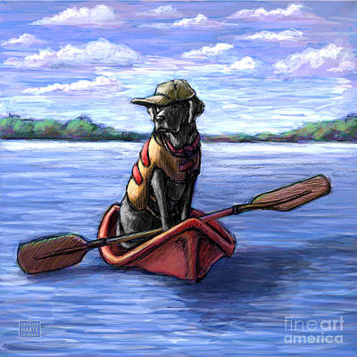 Retrievers Mixed Media - Kayak Ride by Kathleen Harte Gilsenan