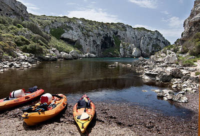 Kayak Time - The Landscape Of Cales Coves Menorca Is A Great Place For Peace And Sport Art Print