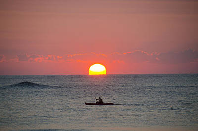 Kayaker Photograph - Kayaker At Sunrise New Jersey by Bill Cannon