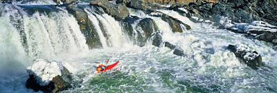 Kayaker Descending Waterfall, Great Art Print