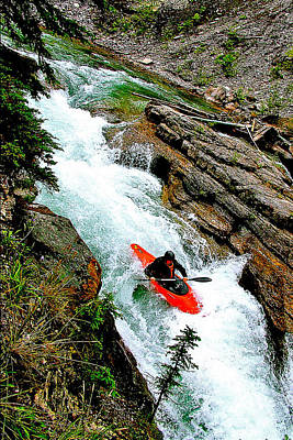 Kayaker In Maligne Canyon In Jasper National Park-alberta-canada Original by Ruth Hager