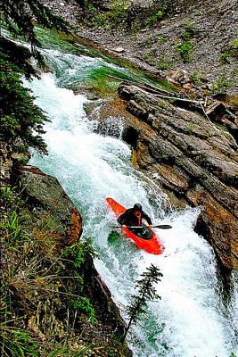 Kayaker In Maligne Canyon In Jasper National Park-alberta-canada Original