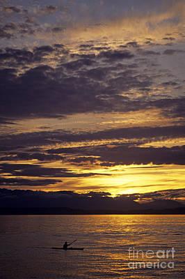 School Teaching - Kayaker on Puget Sound sunset by Jim Corwin