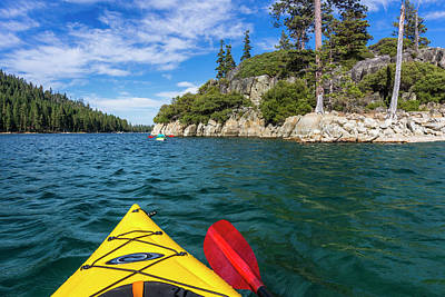 Kayaking In Emerald Bay, Emerald Bay Art Print